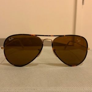 RAY-BAN Aviator Tortoise/Gold/Brown Sunglasses